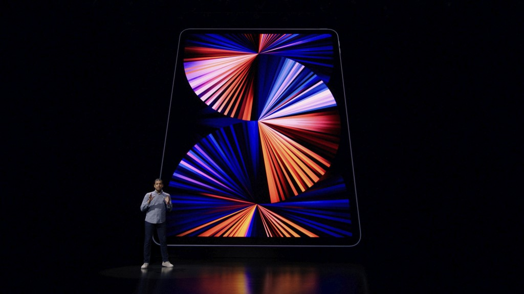"Apple Manager, Product Marketing Raja Bose speaking about the new iPads Pros with Apple's M1 chip during a special event at Apple Park in Cupertino, California.(Photo by Handout / Apple Inc. / AFP) / RESTRICTED TO EDITORIAL USE - MANDATORY CREDIT ""AFP PHOTO /Apple Inc. "" - NO MARKETING - NO ADVERTISING CAMPAIGNS - DISTRIBUTED AS A SERVICE TO CLIENTS"