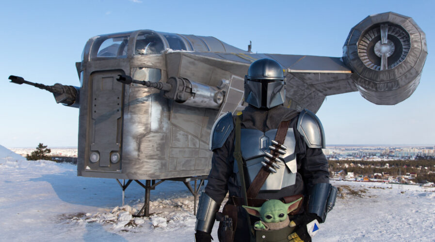 The Mandalorian pictured here is not a bug bounty hunter. We wish he was, though. That'd be really cool. (Photo by Evgeniy SOFRONEYEV / AFP)