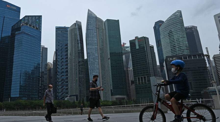 Compared to its regional peers, Singaporean businesses appear to adapt to new technologies at a faster rate. (Photo by ROSLAN RAHMAN / AFP)