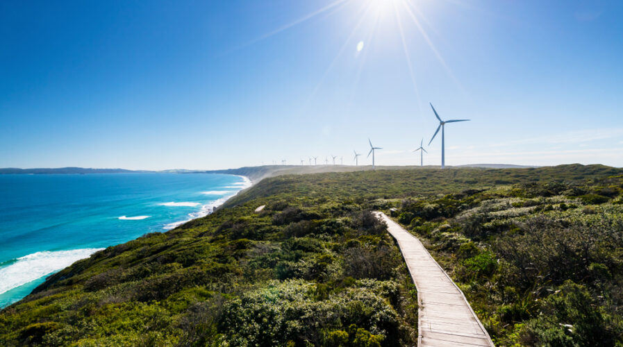 Wind farms are one of the renewable energy sources produced in land-rich Australia. Pictured is the well-known Albany wind farm in Albany, Western Australia. (IMG/Shutterstock)